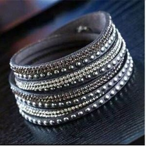 Jewelry - Rhinestone, Metal, and Leather Bracelet / Anklet